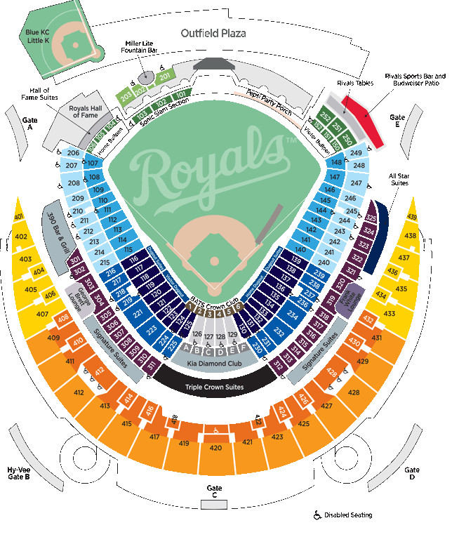 Tips to enhance your Kauffman Stadium experience - Royals Review Kauffman Stadium Map on gila river arena map, spring mobile ballpark map, santa clara convention center map, royals seat map, starlight theatre map, u.s. cellular field map, o.co coliseum map, talking stick resort arena map, marlins ballpark map, pnc arena map, kauffman seating, truman sports complex map, dr pepper ballpark map, allen fieldhouse map, coors field map, kc royals seating map, braves field map, bramlage coliseum map, citizens bank park map, sports authority field at mile high map,