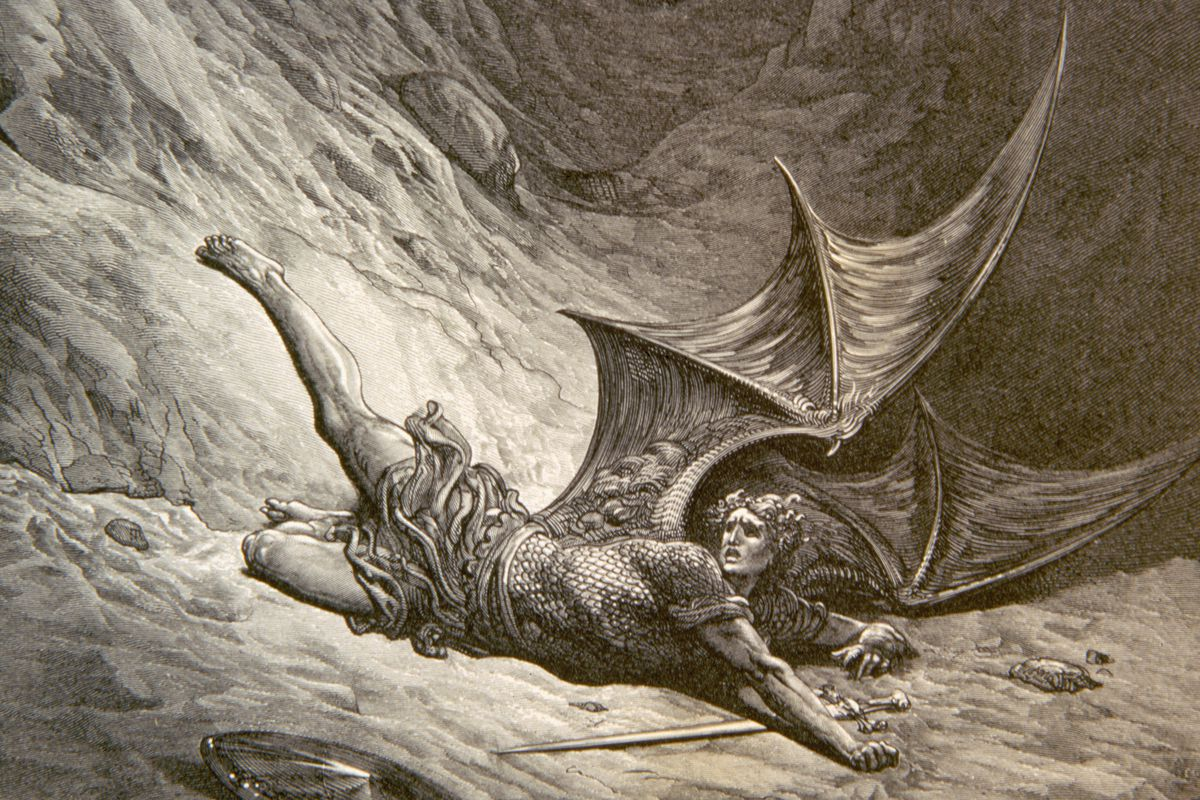 Engraving of Satan Smitten by Michael by Dore, 1866