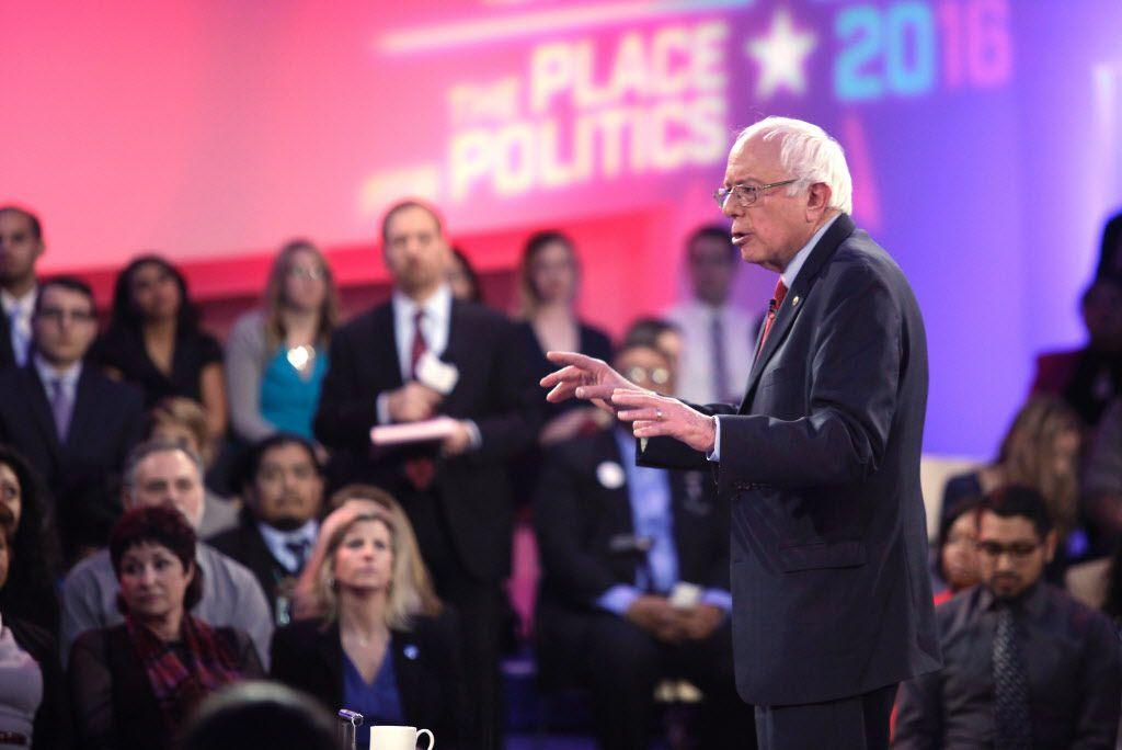 Democratic presidential candidate Sen. Bernie Sanders speaks at the MSNBC town hall on Thursday, Feb. 18, 2016.   John Gurzinski/Getty Images