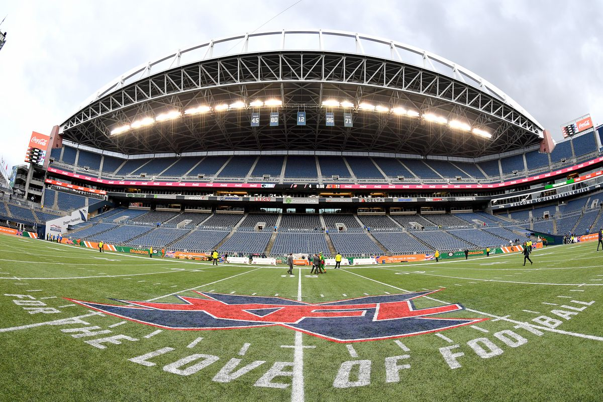 A general interior view of CenturyLink Field with the XFL midfield logo after the game between the Seattle Dragons and the Dallas Renegades at CenturyLink Field on February 22, 2020 in Seattle, Washington. The Dallas Renegades topped the Seattle Dragons, 24-12.