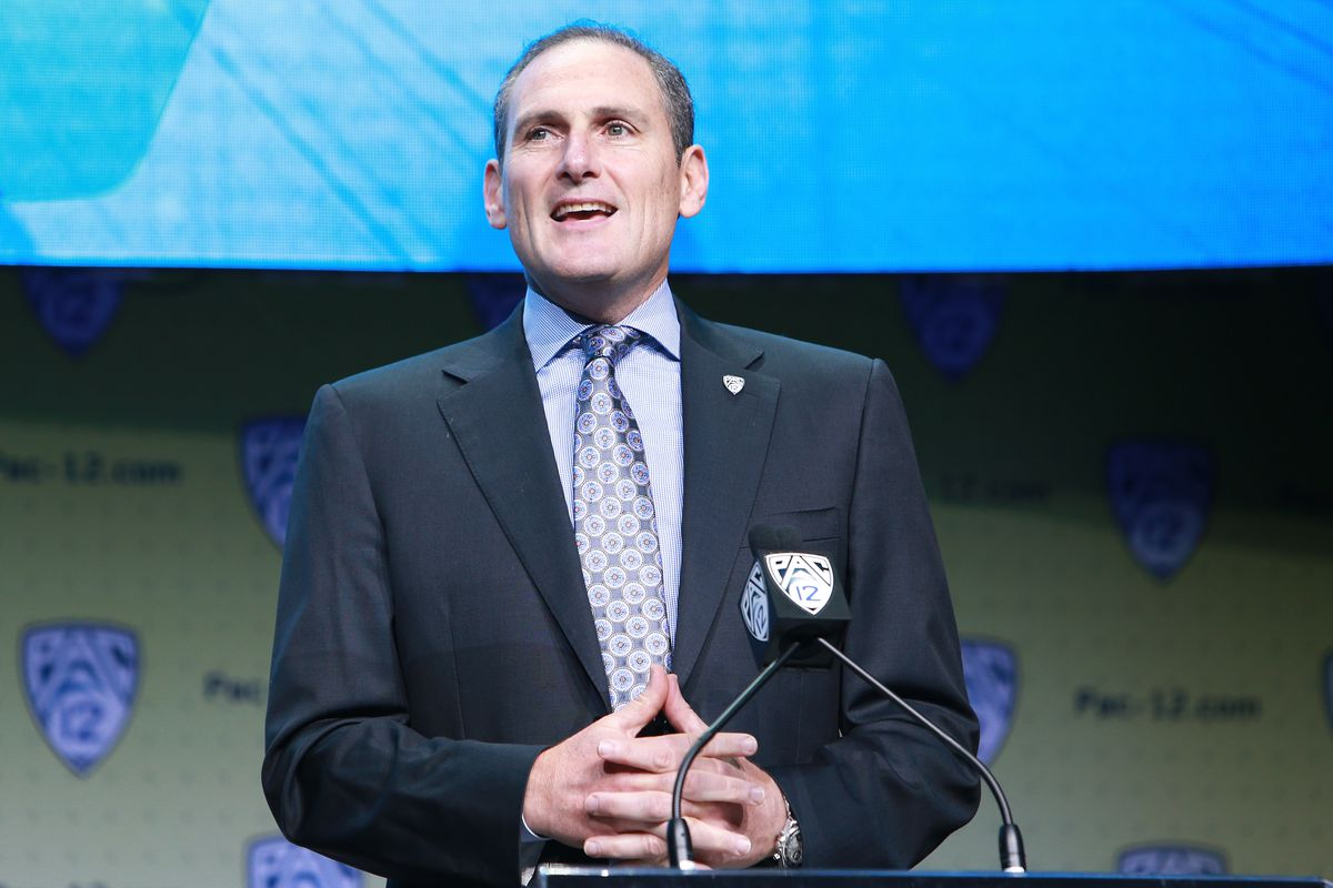 PAC-12 Commissioner Larry Scott speaks to the media during PAC-12 Media Days on July 26, 2017 in Hollywood, California.