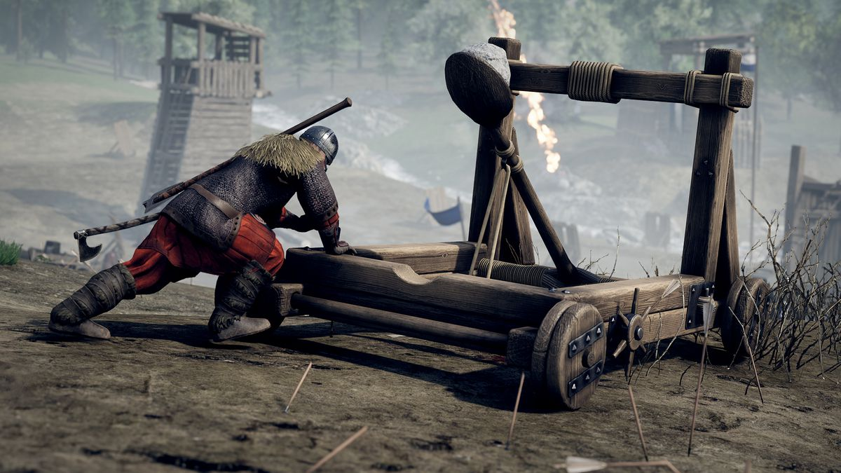 Siege weapons are available to build in Mordhau, but only for certain classes.