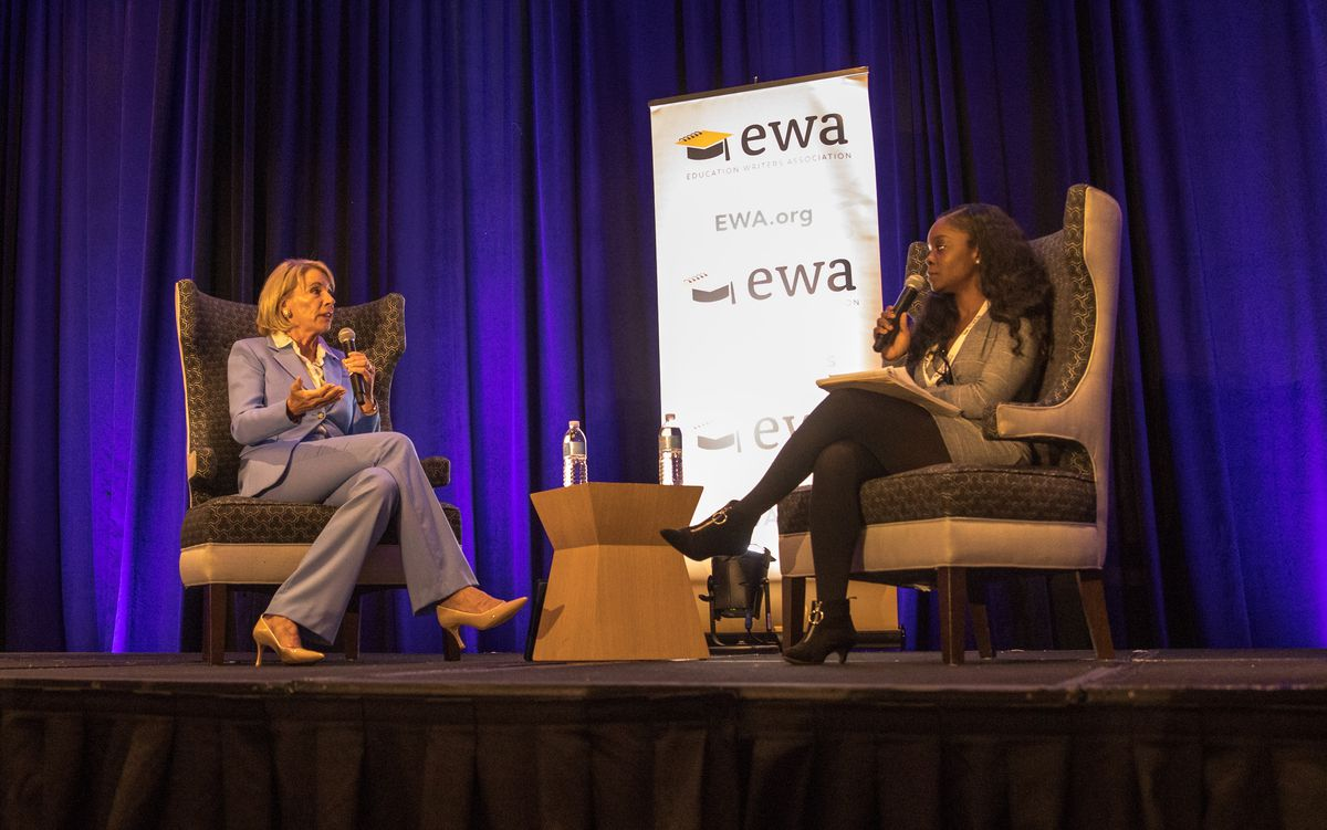 U.S. Secretary of Education Betsy DeVos spoke with New York Times reporter Erica Green during a journalist conference in Baltimore.