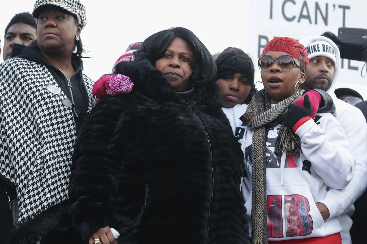 Samaria Rice, center, with the mothers of Trayvon Martin, left, and Michael Brown, right.