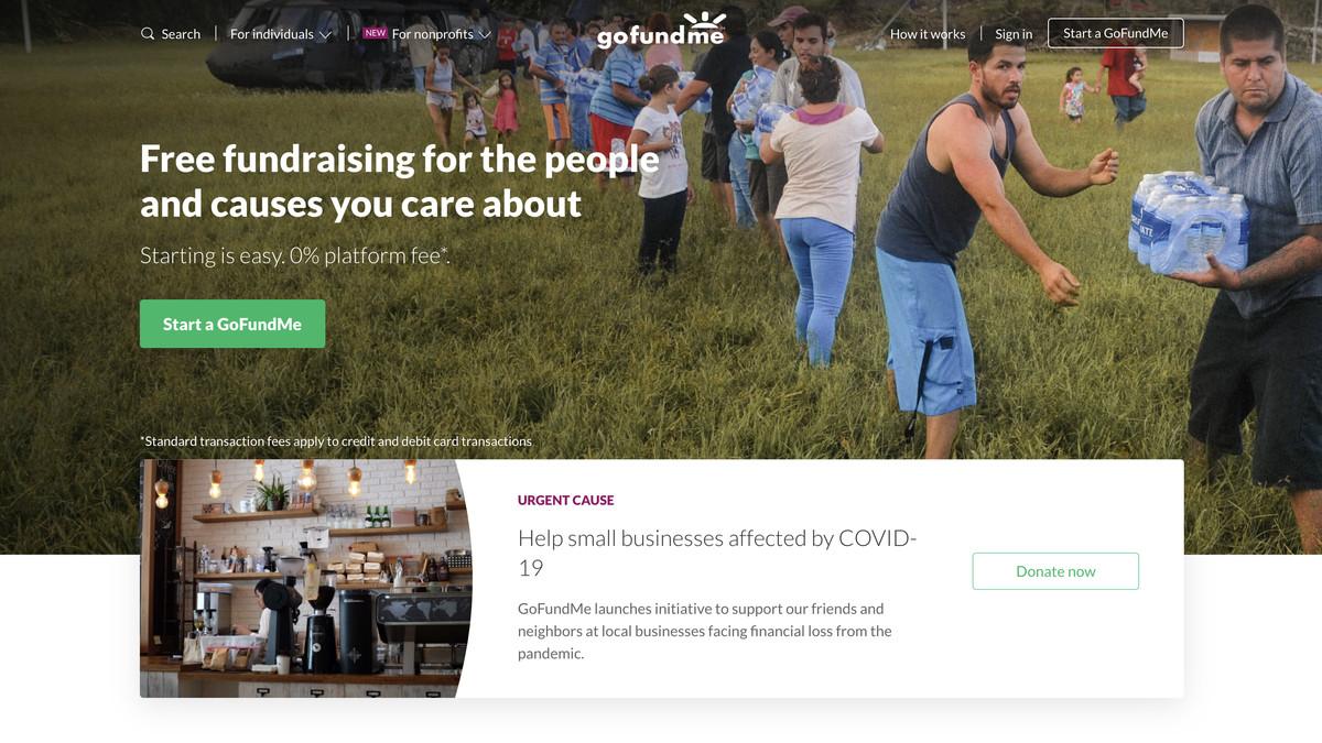 A screenshot of GoFundMe's homepage