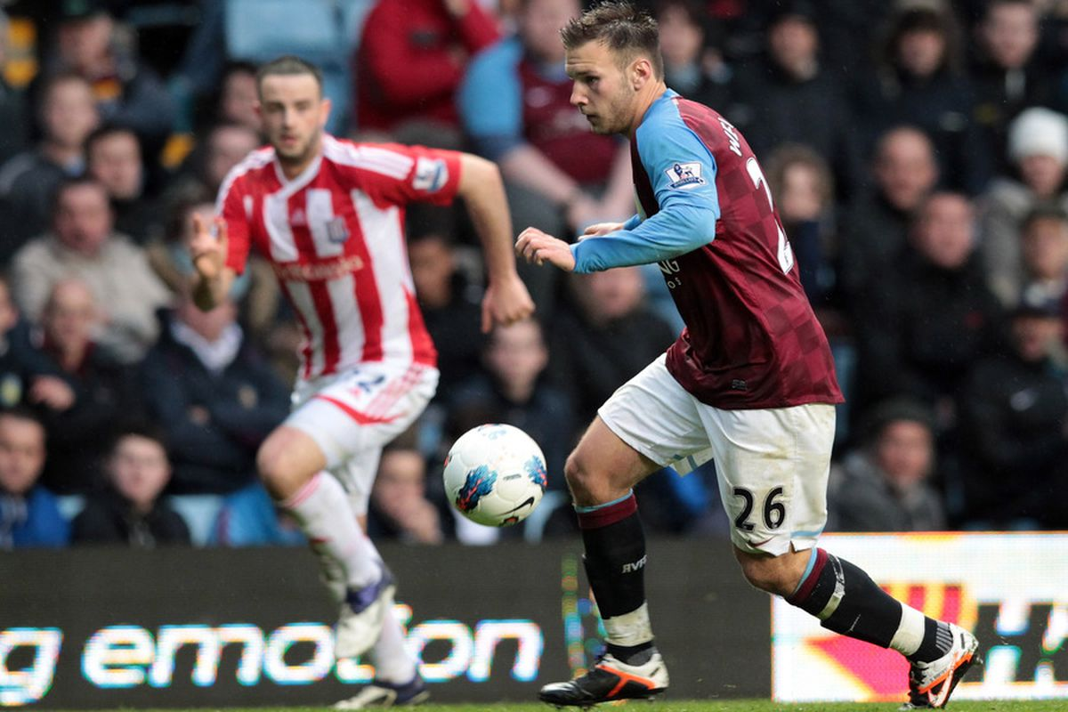 BIRMINGHAM, ENGLAND - APRIL 09:  Andreas Weimann of Aston Villa during the Premier League match between Aston Villa and Stoke City at Villa Park on April 9, 2012 in Birmingham, England.  (Photo by Ross Kinnaird/Getty Images)