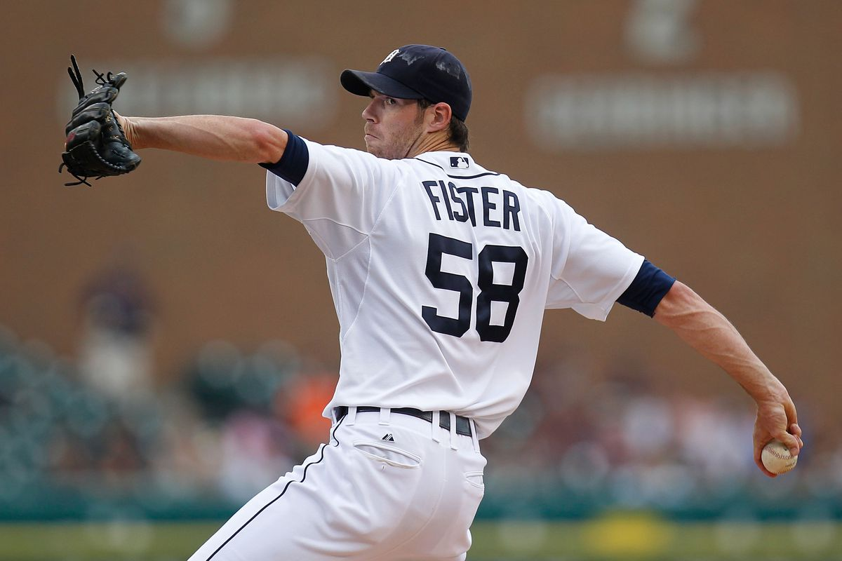 DETROIT, MI - JULY 18: Doug Fister #58 of the Detroit Tigers throws a first inning pitch while playing the Los Angeles Angels of Anaheim at Comerica Park on July 18, 2012 in Detroit, Michigan.  (Photo by Gregory Shamus/Getty Images)