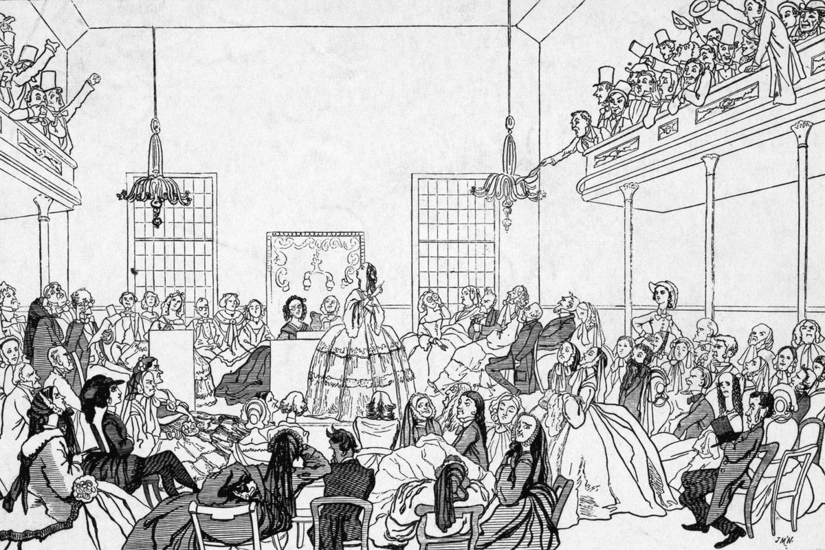 Cartoon representing feminist speaker denouncing men at the first Women's Rights Convention in July 1848, in Seneca Falls, NY, where the American feminist movement was launched.