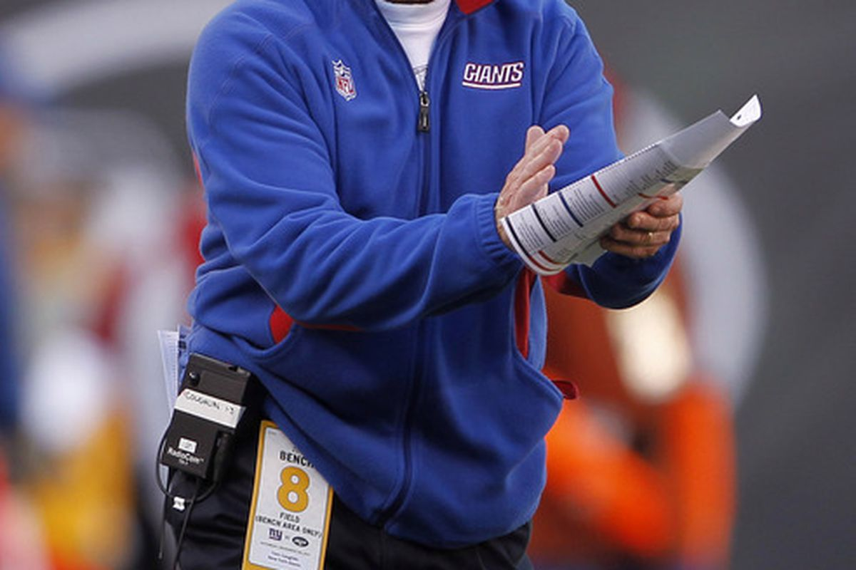 Head coach Tom Coughlin of the New York Giants yells to his team during the second quarter of a game against the New York Jets at MetLife Stadium on December 24, 2011 in East Rutherford. New Jersey. (Photo by Rich Schultz /Getty Images)