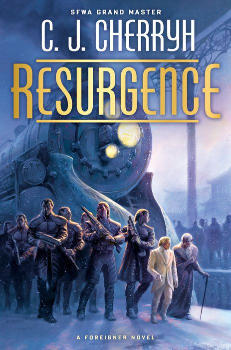 Resurgence by C.J. Cherryh cover men with guns stand in front of a snow covered train