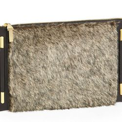 """The touch of (faux) fur makes this one feel luxe. French Connection <a href=""""http://shop.nordstrom.com/s/french-connection-faux-fur-clutch/3558814?origin=category&contextualcategoryid=0&fashionColor=&resultback=2169"""">faux-fur clutch</a>, $68."""