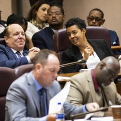 Ald. Maria Hadden (49th) chats with Ald. Harry Osterman (45th) during her first Chicago City Council meeting at City Hall, Wednesday, May 29, 2019.