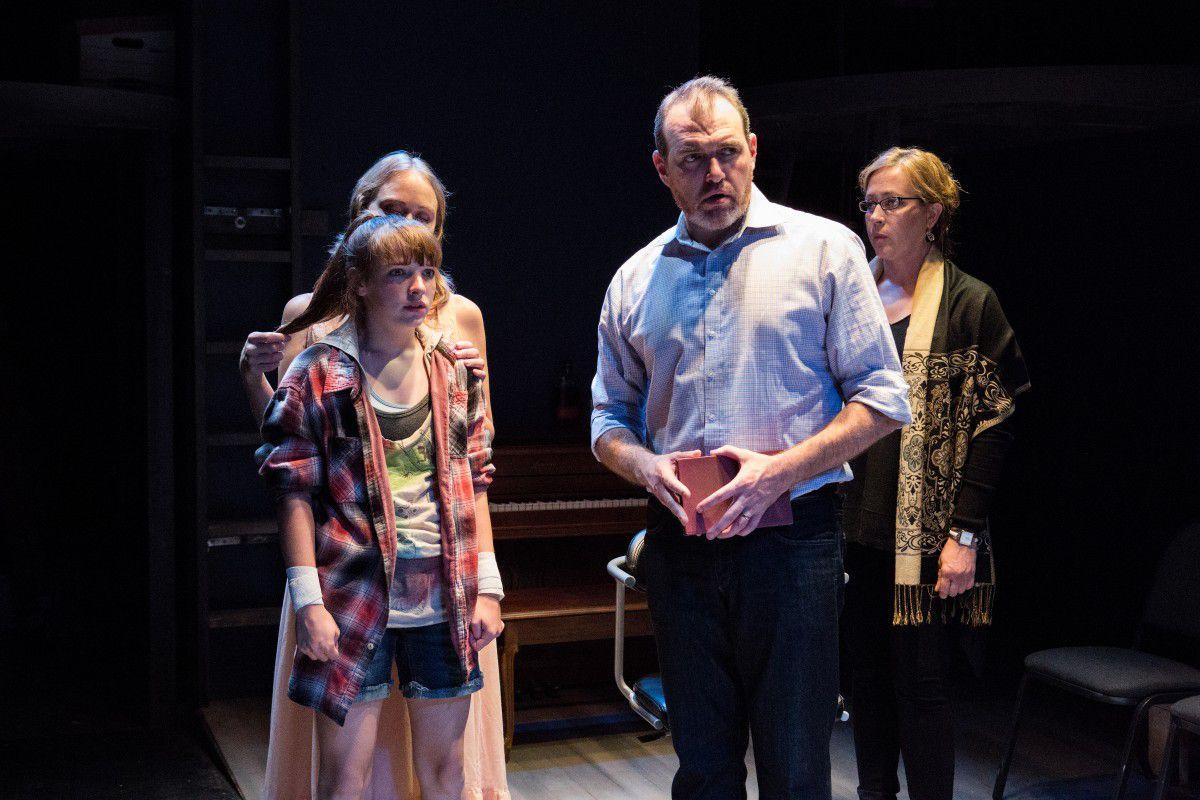 "Brittany Burch (from left), Caroline Heffernan, John Gawlik and Lynda Newton in The Gift Theatre world premiere of David Rabe's ""Good for Otto."" (Photo: Claire-Demos)"