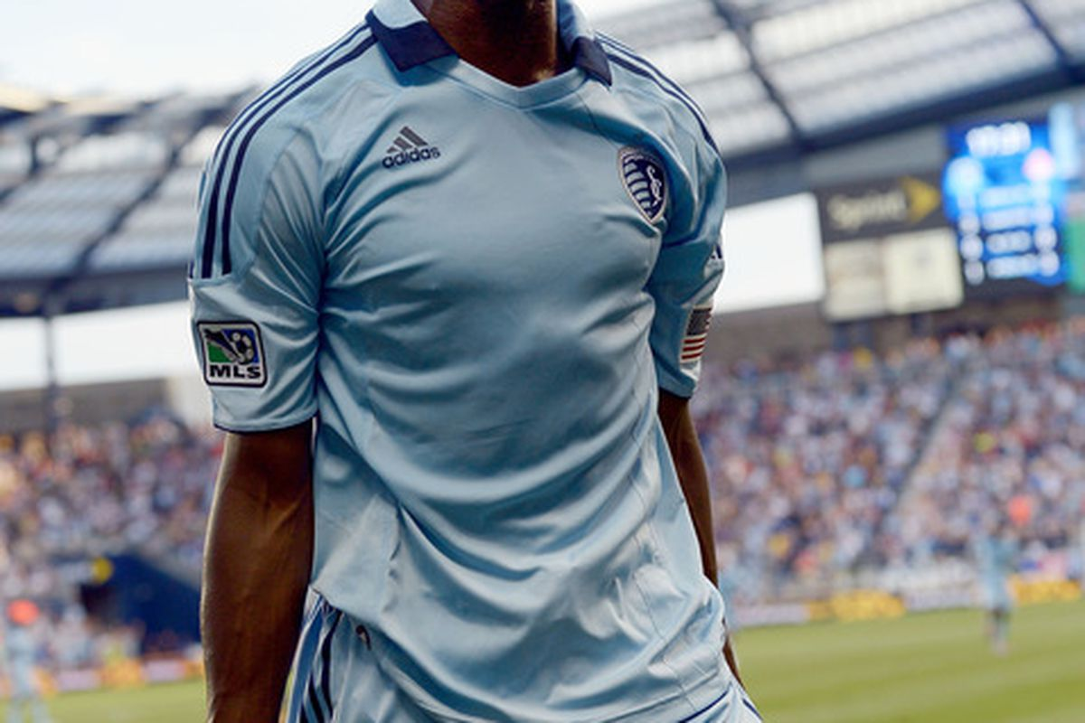 KANSAS CITY, KS - JUNE 16:  C.J. Sapong #17 of Sporting KC celebrates after scoring during the MLS game against the Toronto FC on June 16, 2012 at Livestrong Sporting Park in Kansas City, Kansas.  (Photo by Jamie Squire/Getty Images)
