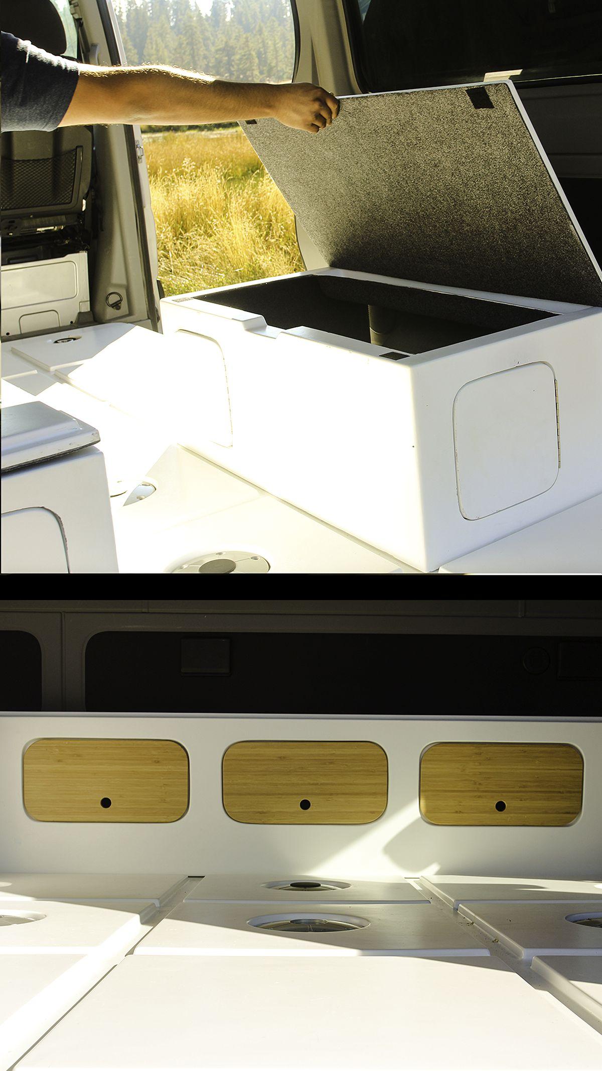 White fiberglass base floors and a white box for storage sits inside a Mercedes Sprinter van.