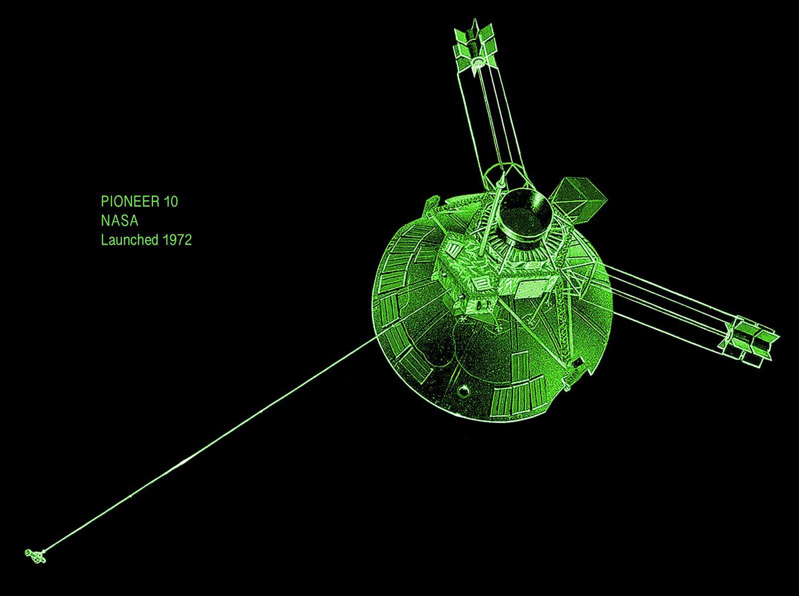 An illustration of Pioneer 10.