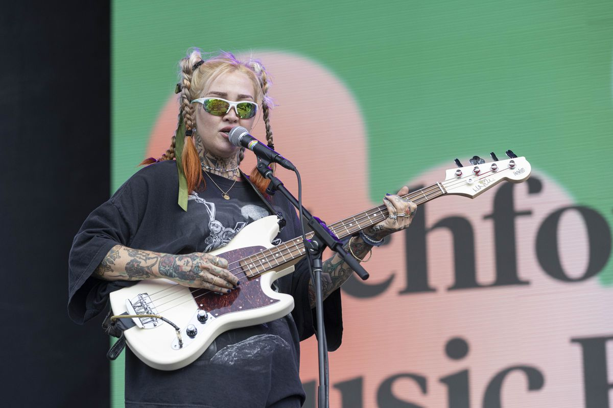 Emily Kempf of DEHD performs on day one of the Pitchfork Music Festival.