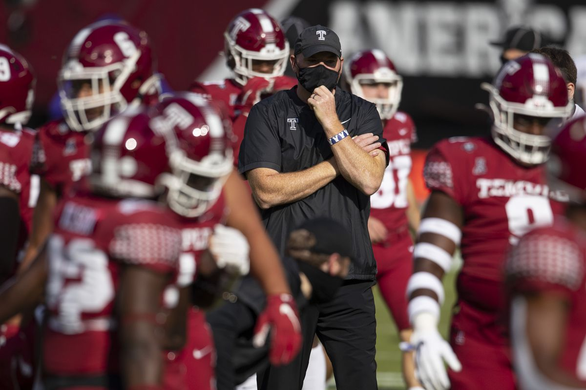 Head coach Rod Carey of the Temple Owls looks on prior to the game against the East Carolina Pirates at Lincoln Financial Field on November 21, 2020 in Philadelphia, Pennsylvania.