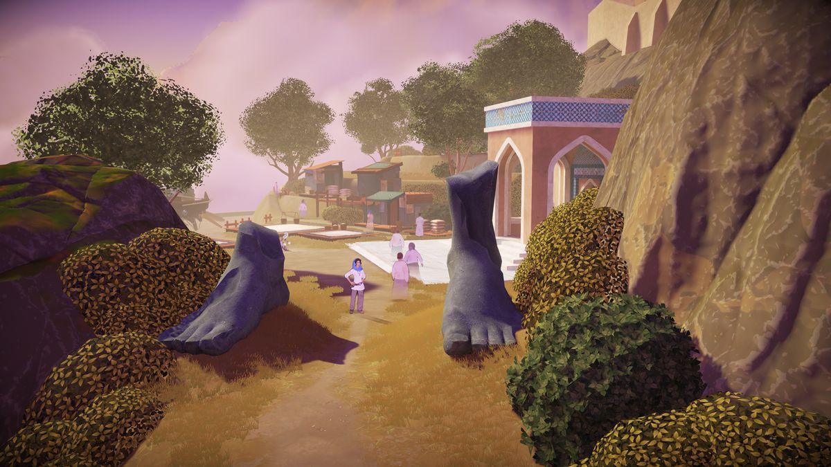 Aliya stands alongside ancient ruins in Heaven's Vault