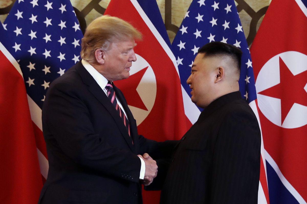 President Donald Trump and North Korean leader Kim Jong Un shake hands to start their summit in Hanoi, Vietnam on February 27, 2019.