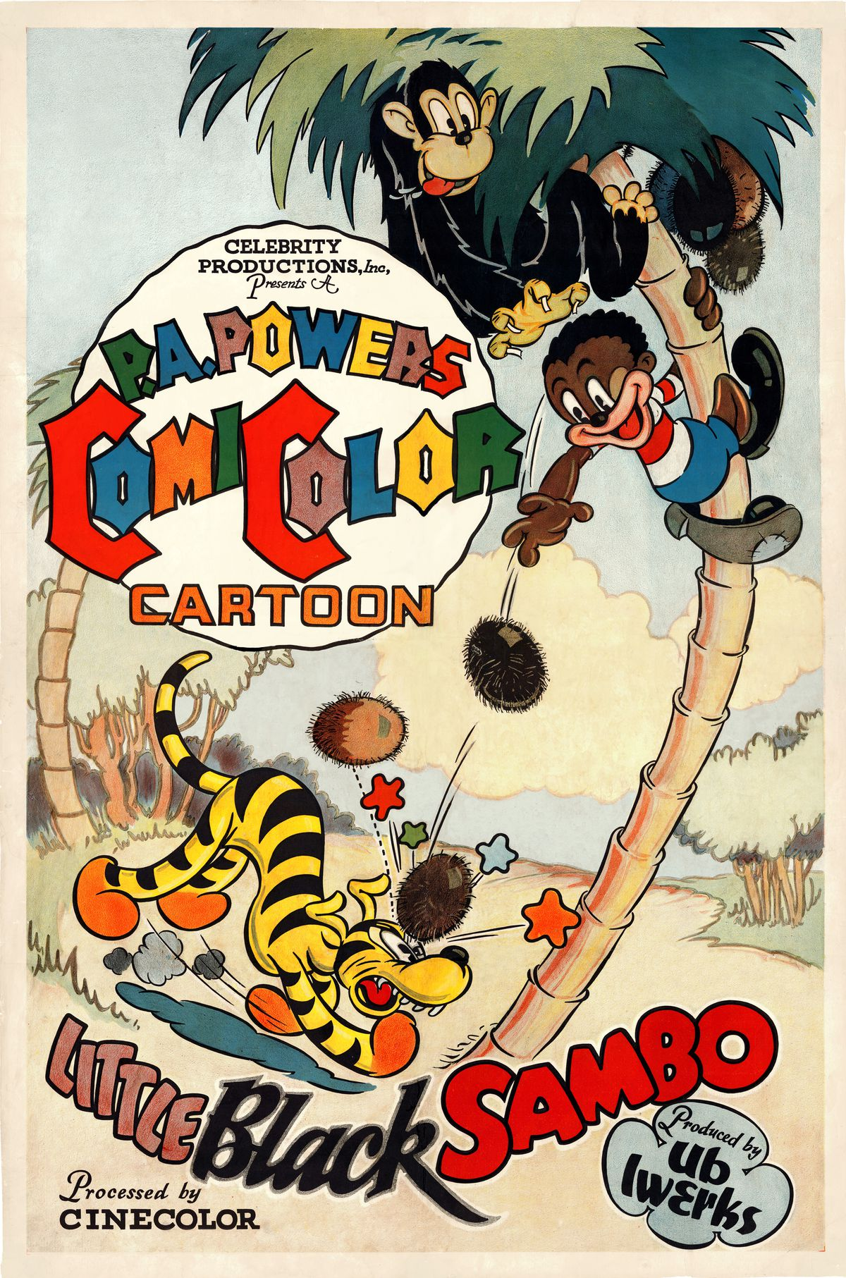 A poster promoting the Little Black Sambo animated cartoon illustrated by Ub Iwerks, 1935.
