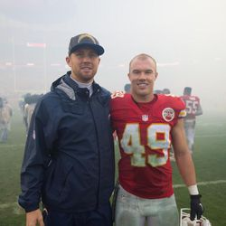 Brad and Dan after a game in San Diego. Brad was on the Chargers roster as a quarterback at the time and Dan played for the Chiefs.