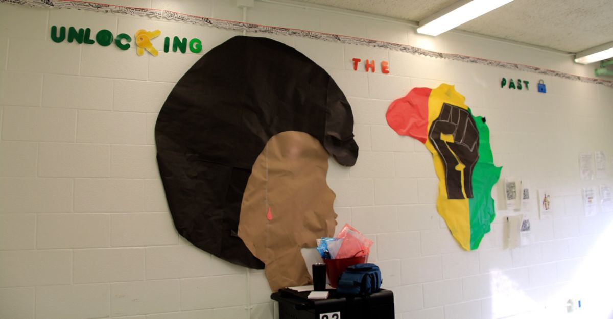 A mural hangs on the wall in Wilkins' classroom.