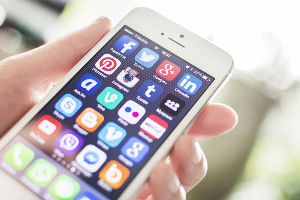 A smart phone with social media apps.