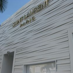 """Fresh white exterior, courtesy of the space's last resident, <a href=""""http://latimesblogs.latimes.com/alltherage/2012/06/missoni-closes-rodeo-drive-store.html"""">Missoni</a>."""