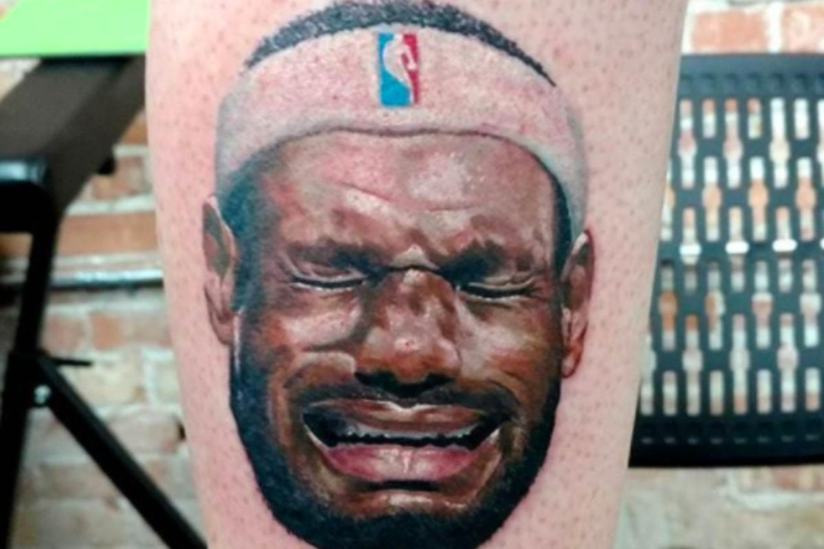 """Kalen Gilleese, who hails from Salt Lake City. tattooed a """"Crying LeBron"""" image on his leg. He said he's not a LeBron fan."""