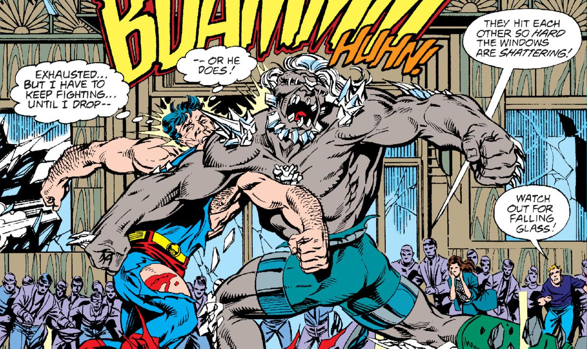 "Superman and Doomsday slug it out. Superman's costume is tattered. Bystanders gasp ""They hit each other so hard the windows are shattering!"" and ""Watch out for falling glass!"" in Superman #75, DC Comics (1992)."