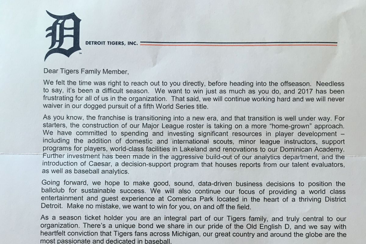 Tigers GM Al Avila pens candid apology letter to season ticket – Apology Letter to Family