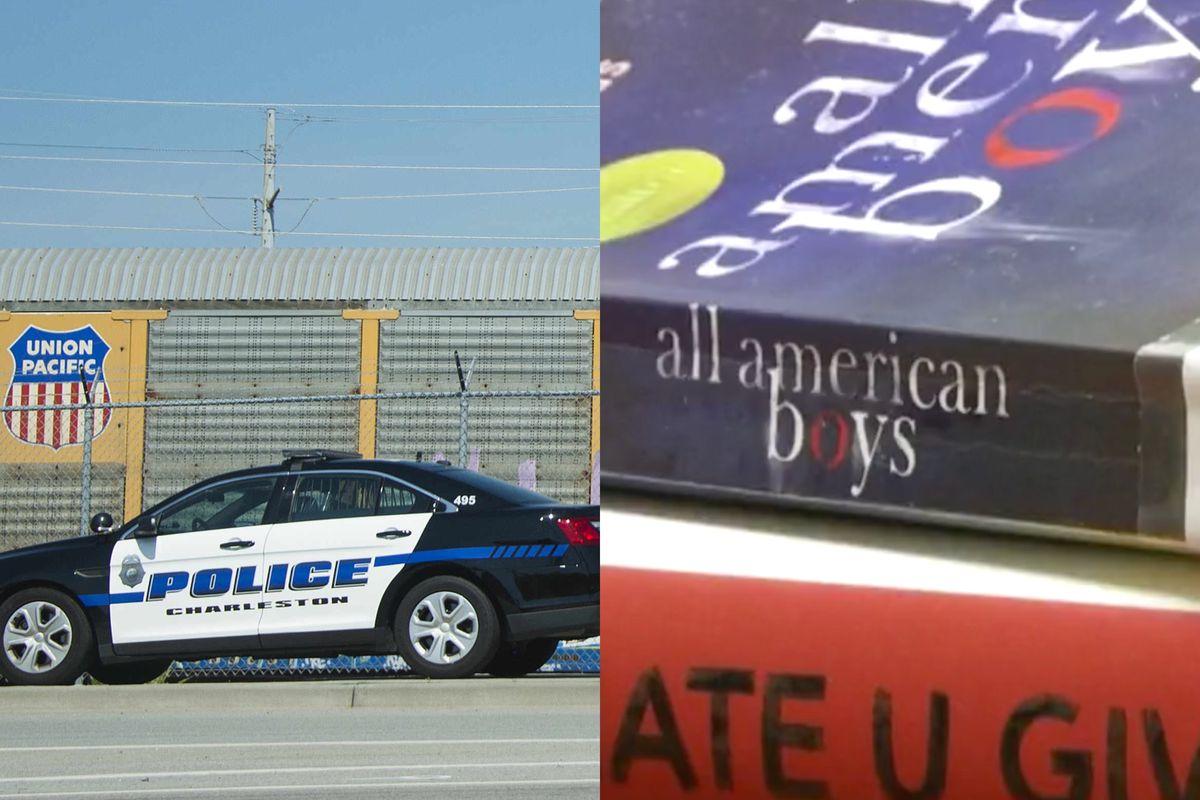 police car, books