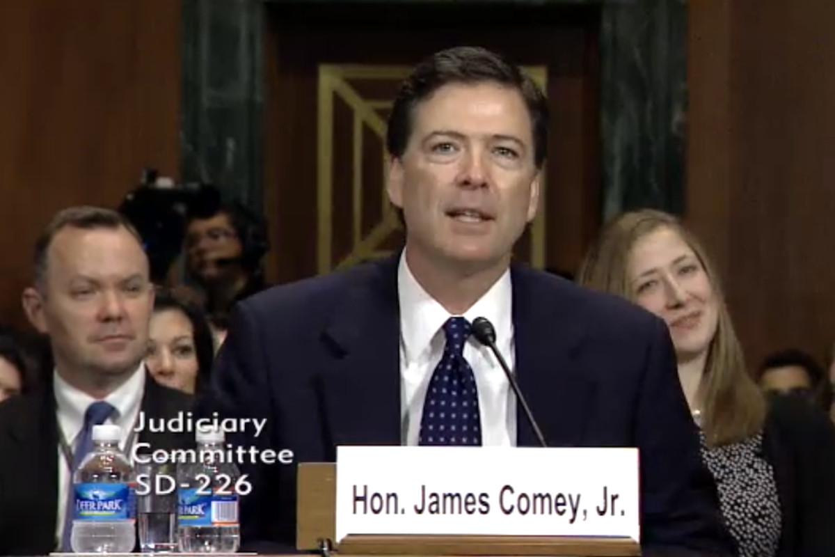 FBI dir nominee James Comey testifies (Credit: Senate Judiciary Committee)