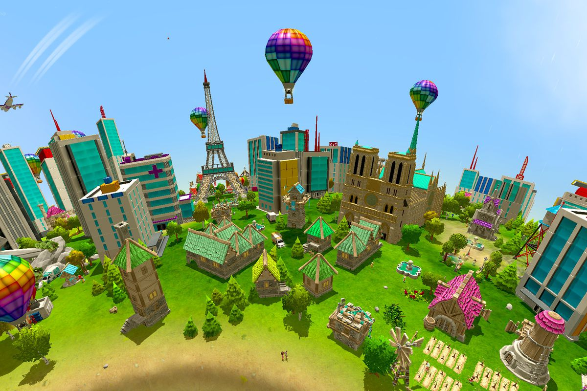 A colorful cityscape from the indie game Crytivo