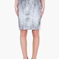 """<a href=""""http://www.ssense.com/women/product/maison_martin_margiela/silk_jean_print_skirt/53897"""">Maison Martin Margiela silk jean print skirt</a>, $166.40 (was $695)"""