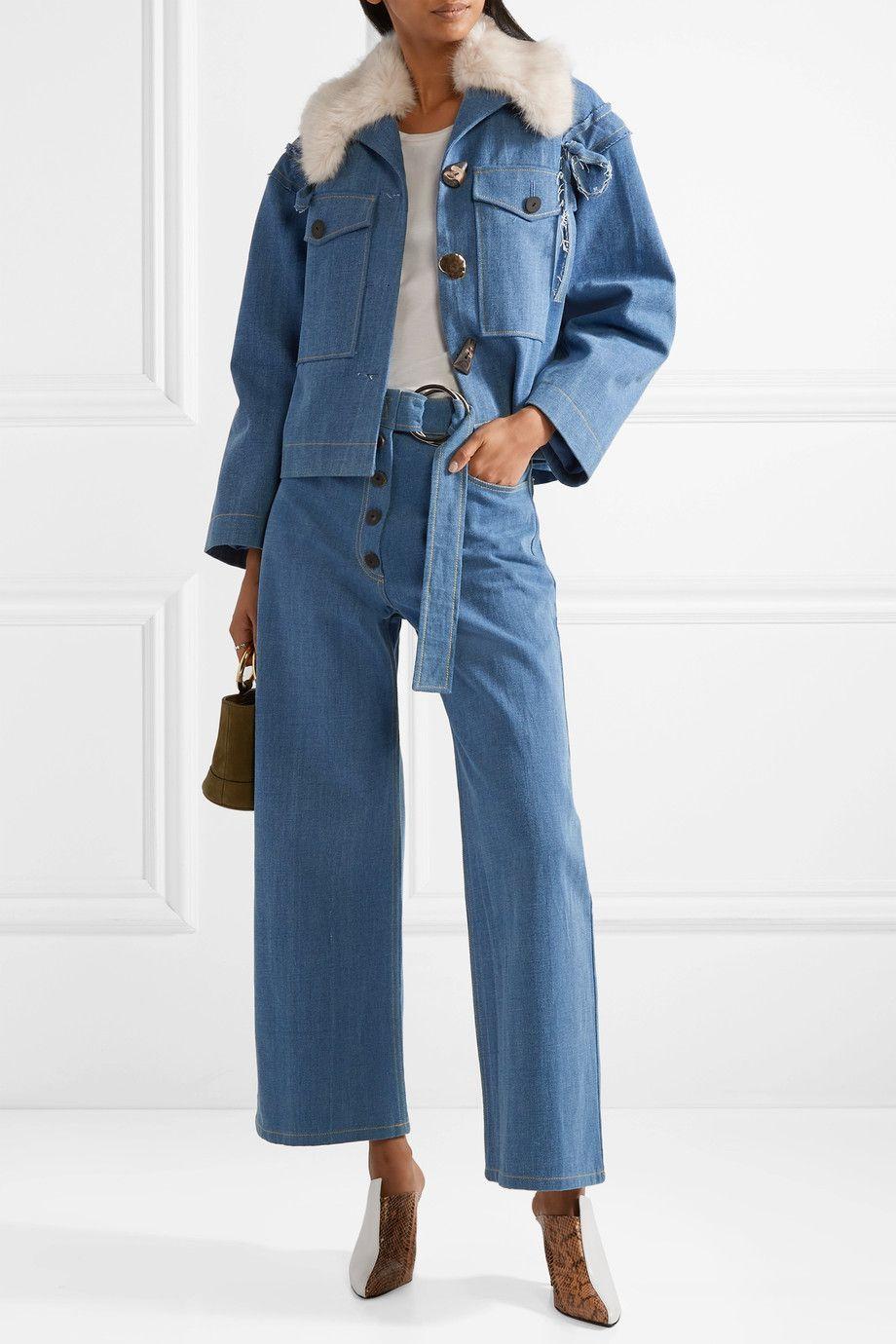 Rejina Pyo Faux Fur-Trimmed Denim Jacket