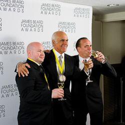 ABC Kitchen's chefs Dan Kluger and Jean Georges Vongerichten with financial partner Phil Suarez<br /><br />photo copyright Daniel Krieger Photography LLC
