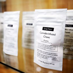 Cannabis-infused chews are among the items for sale as Dragonfly Wellness in Salt Lake City prepares to open as the first of Utah's 14 medical cannabis pharmacies on Monday, March 2, 2020.