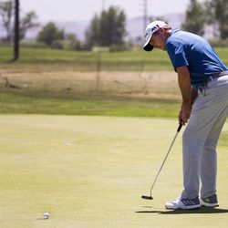 Chris Moody putts on the third day of the 78th Provo Open at East Bay Golf Course in Provo Saturday, June 10, 2017.
