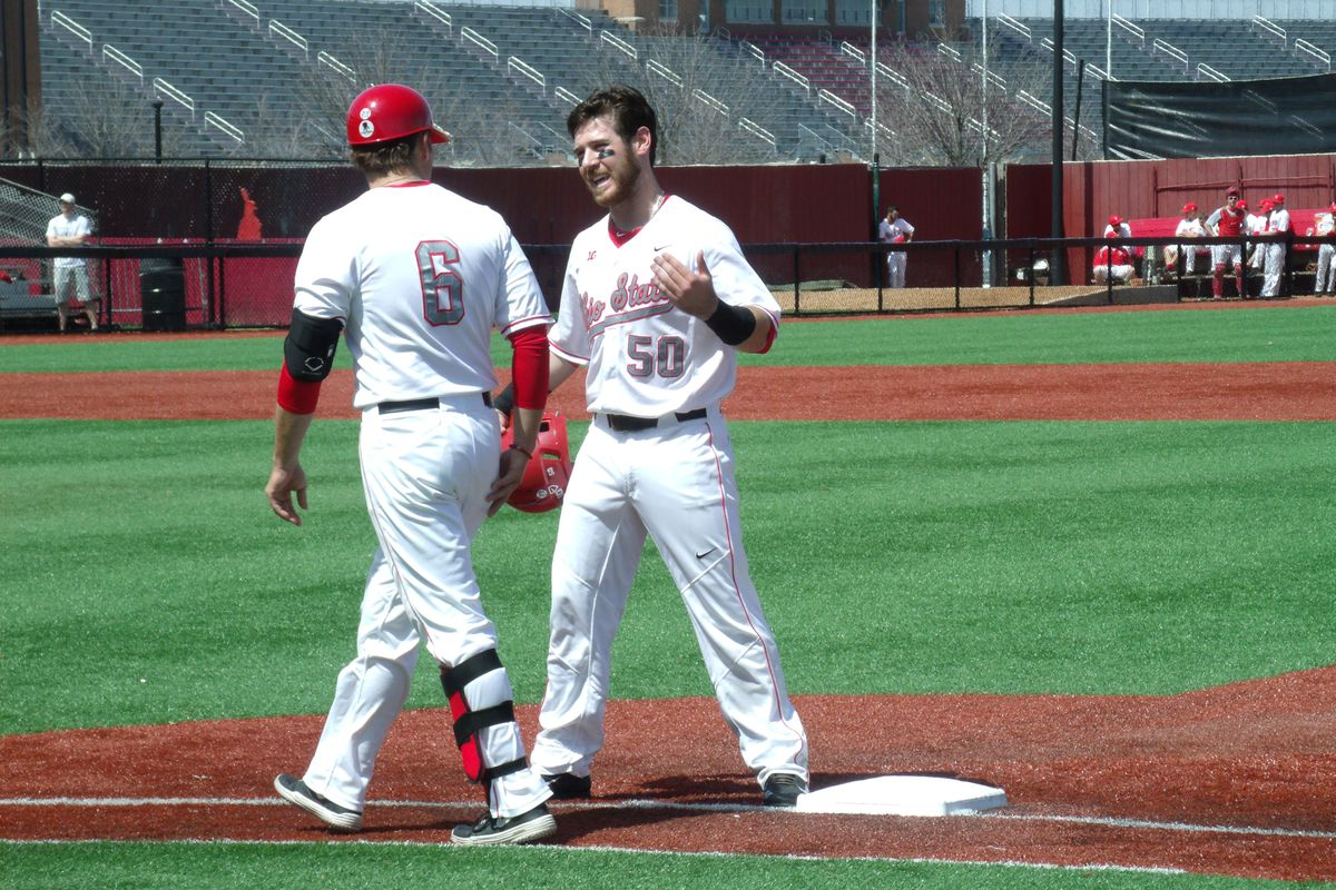 Second baseman L Grant Davis led Ohio State with a 3-for-3 showing, scoring a run