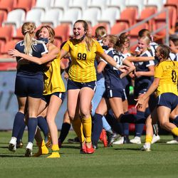 Bonneville players celebrate their win over Skyline in 5A girls soccer state semifinal action at Rio Tinto Stadium in Sandy, Utah, on Tuesday, Oct. 20, 2020. Bonneville won 2-0.