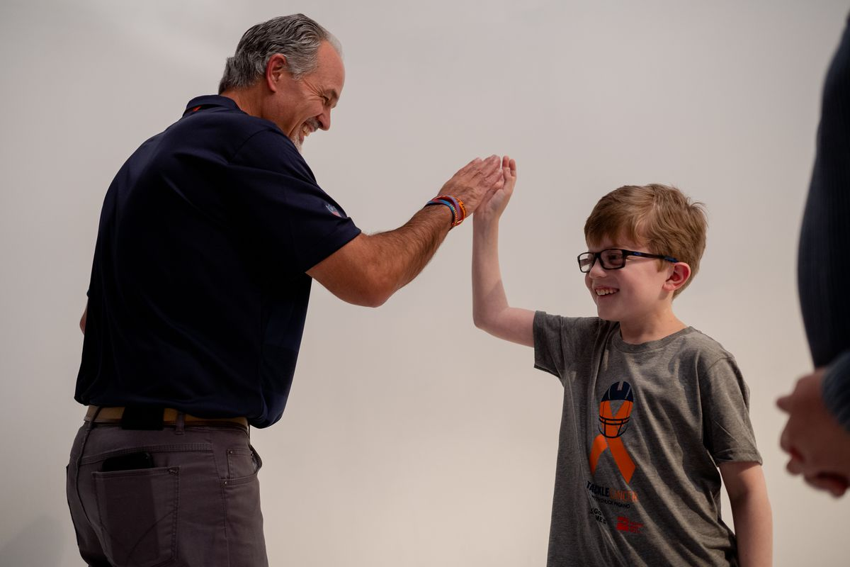 Bears defensive coordinator Chuck Pagano and Cole Spiegel meet for the first time at the Chicago Sun-Times studio on October 19, 2019.