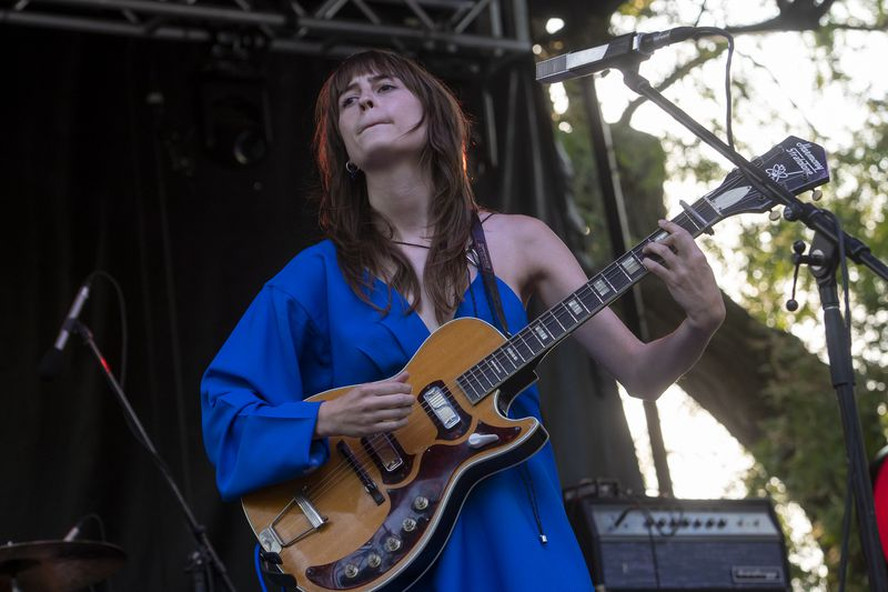 Faye Webster performs at the Blue Saga at Pitchfork music festival at Union Park, Saturday, Sept. 11, 2021.