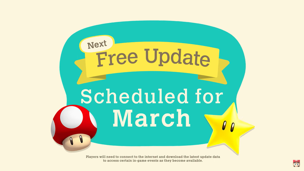 Text that reads: Next Free Update Scheduled for March, with a mario mushroom and a gold star