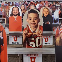 Cardboard cutouts are placed in the stands before the game between the Utah Utes and the USC Trojans at Rice-Eccles Stadium in Salt Lake City on Saturday, Nov. 21, 2020.