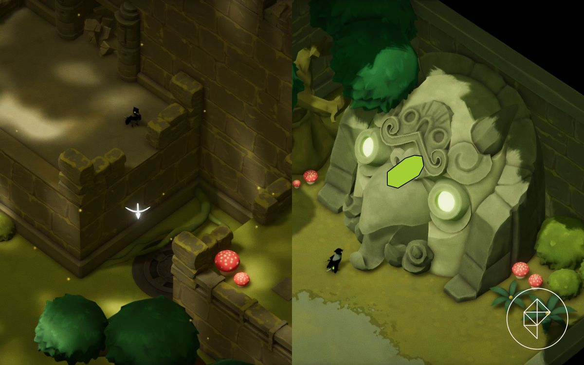 A split image showing a cliff with a sewer lid-like circle on the ground on the left and a vitality shrine on the right.