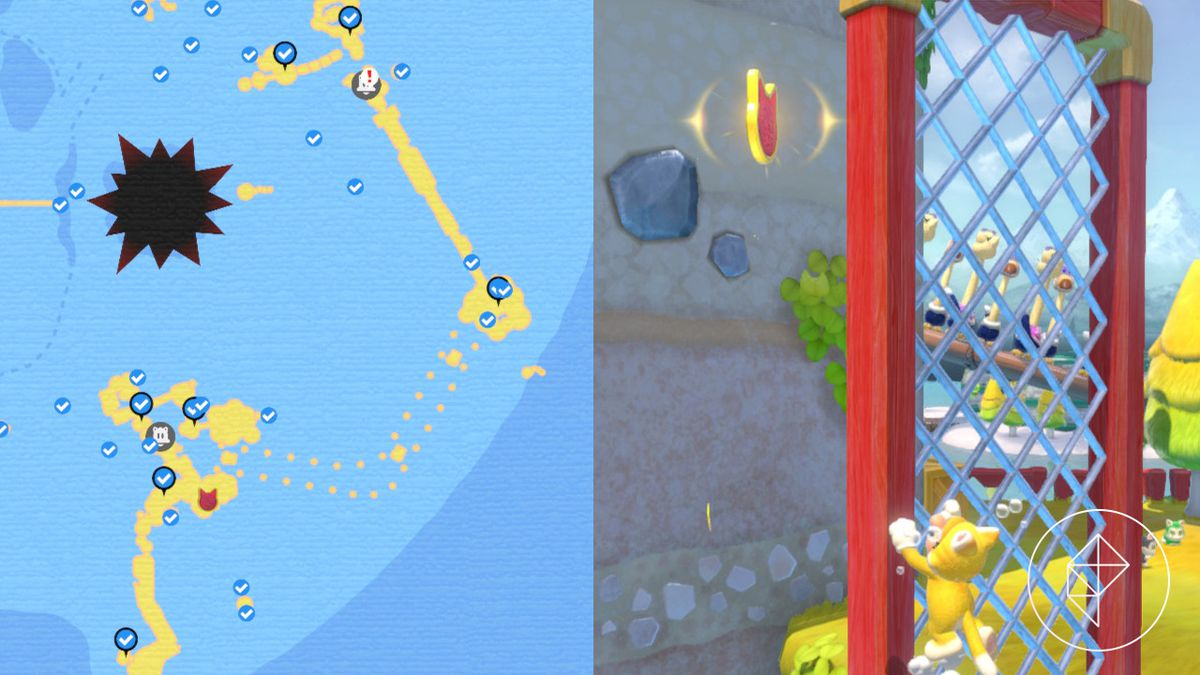 A map showing where a Cat Shine Shard is on Scamper Shores near a wall