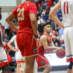 The Judge Memorial Bulldogs during the 3A boys basketball semifinals at the Lifetime Activities Center in Taylorsville on Friday, Feb. 21, 2020.