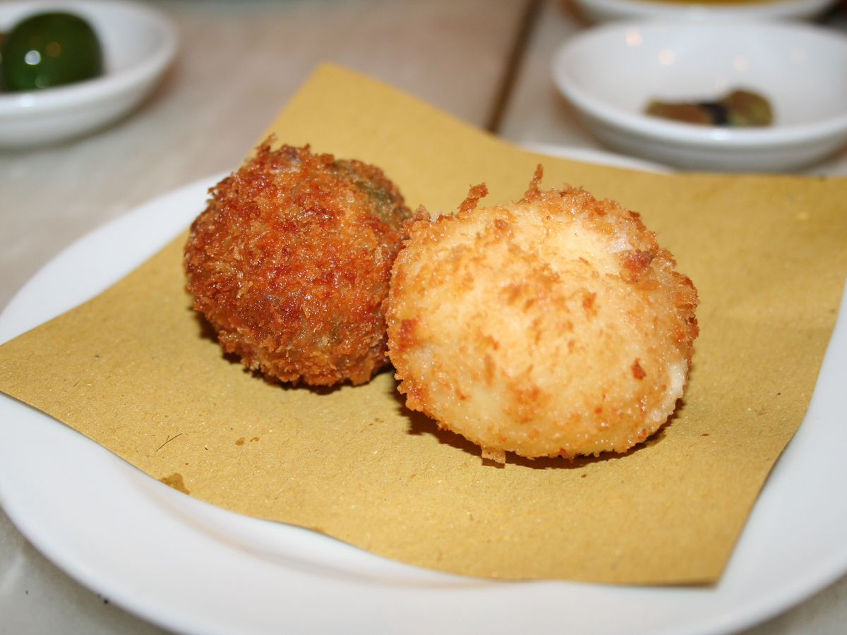 Stuffed olive at Bocca di Lupo in Soho, one of central London's best snacks